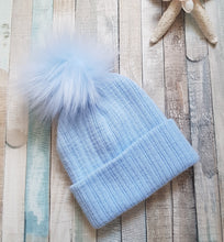 Load image into Gallery viewer, Personalised Blue knitted single pom pom hat