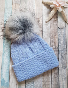 Personalised Blue knitted faux  fur single pom pom hat