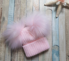 Load image into Gallery viewer, Personalised Pink knitted double pom pom hat