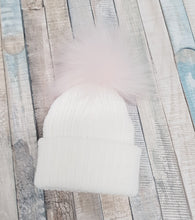 Load image into Gallery viewer, Personalised White knitted single pink pom pom hat
