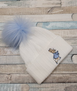 Peter rabbit hat blue pom pom