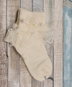 Lace trim sock with pearls