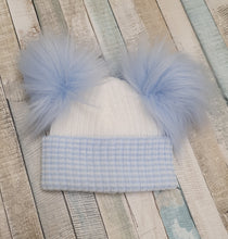 Load image into Gallery viewer, First size striped knitted double pom pom hat