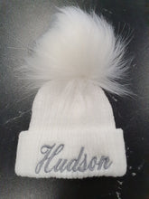 Load image into Gallery viewer, Personalised  White knitted single pom pom hat