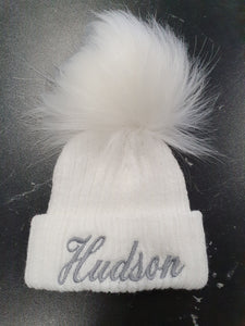 Personalised  White knitted single pom pom hat