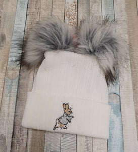 White & grey knitted  Peter rabbit hat with double fur pom pom