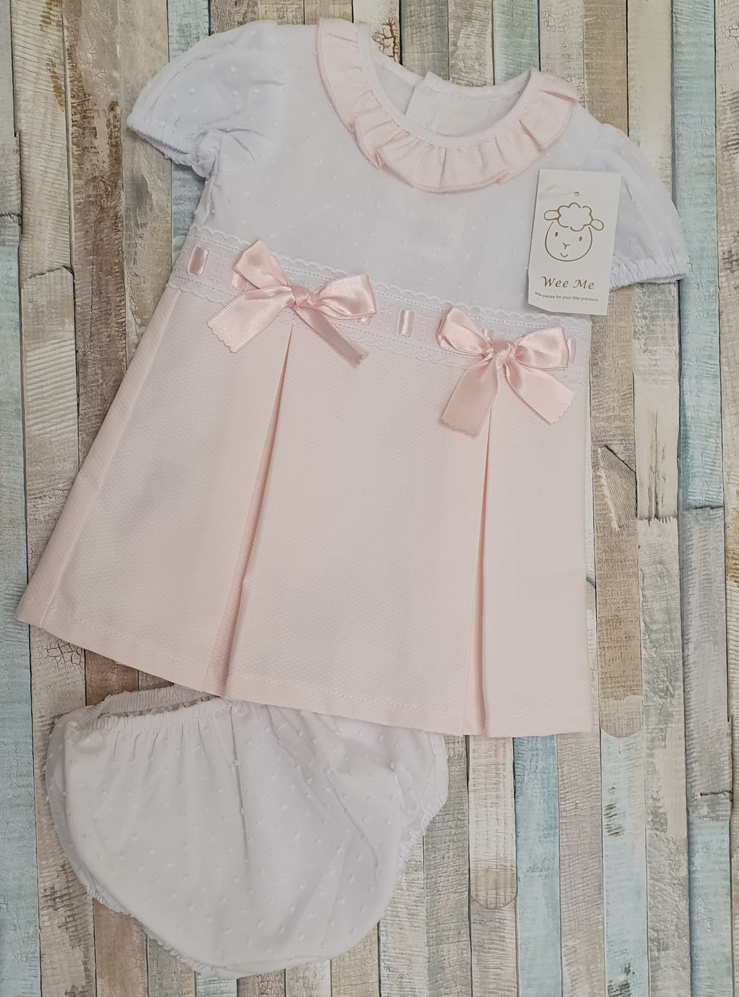 Gorgeous Wee Me Baby Girl Spanish Pink Waffle Princess Dress with