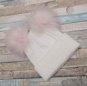 Personalised white knitted hat pink double pom pom