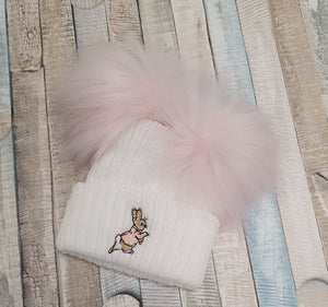 Peter rabbit pink double pom pom hats