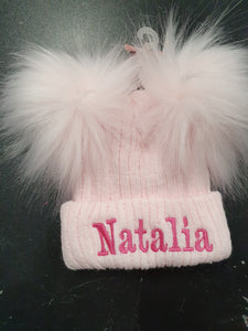 Personalised Pink knitted double pom pom hat
