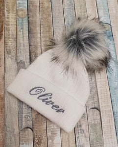 Personalised White Knitted Single faux fur pom pom hat