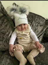 Load image into Gallery viewer, Personalised White Double faux fur knitted pom pom hat