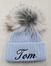 Load image into Gallery viewer, Personalised Blue knitted faux  fur single pom pom hat