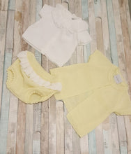 Load image into Gallery viewer, Dandelion girls knitted lemon & white 3 piece short sleeve Jacket Ruffle neck top & bloomer