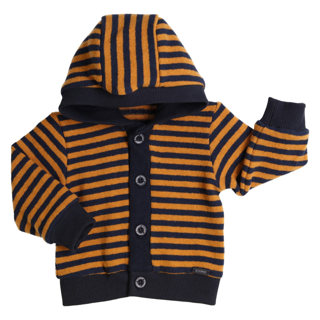 GYMP Navy & Mustard hooded cardigan