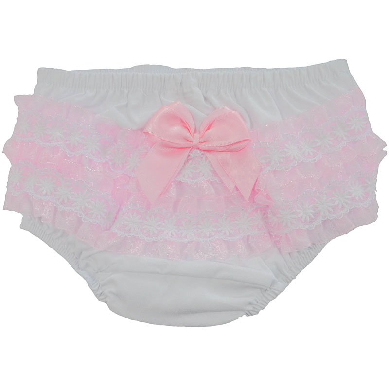 white & pink frilly pants