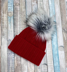 Red Knitted Single faux fur pom pom hat