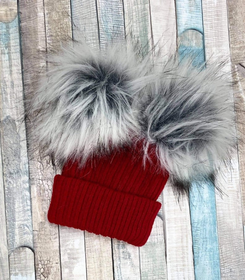 Personalised Double red knitted faux fur pom pom hat