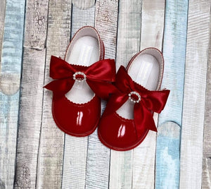 Red Baypod diamante ribbon hard bottom shoes