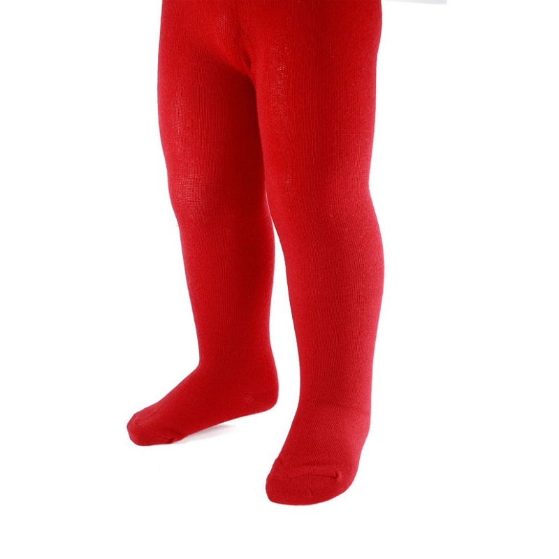 Soft touch red plain tights