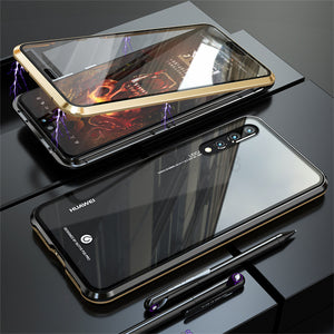 For Huawei P20 P20 PRO Front Back Glass Magnetic Adsorption Metal Case  Cover - Gold - Huawei P20