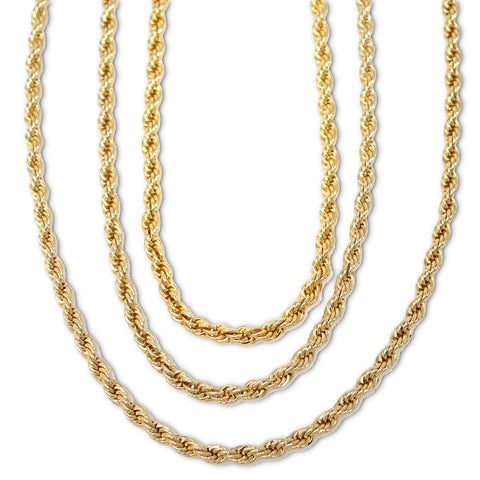 Gold Plated  Unisex Rope Chain 5mm - 20 inches, 24 inches, 30 inches