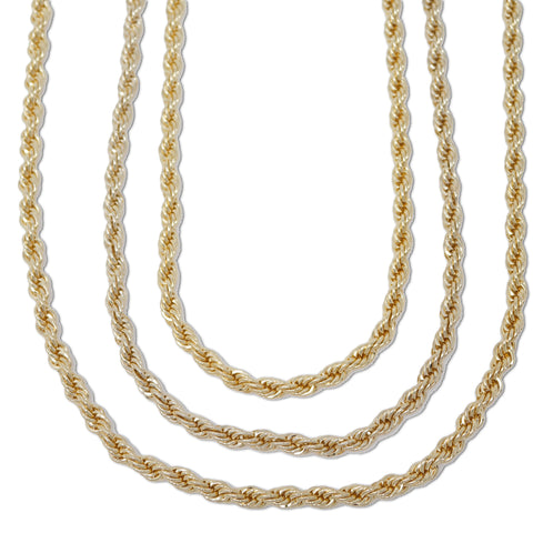Gold Plated  Unisex Rope Chain 6mm - 20 inches, 24 inches, 30 inches