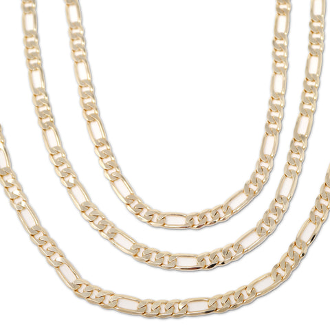 Gold Plated  Unisex Figaro Chain 6mm - 20 inches, 24 inches, 30 inches