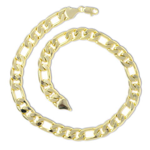 Gold Plated  Unisex Figaro Chain 11mm - 20 inches, 24 inches, 30 inches