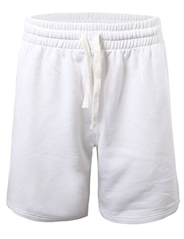 ProGo Men's Casual Basic Fleece Marled Shorts Pants with Elastic Waist-White