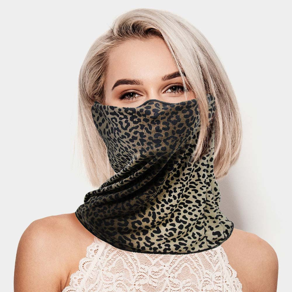 Unisex Multi Purpose Leopard Print Seamless Face Tube Mask Magic Scarf