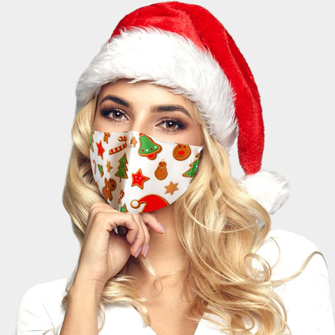 Christmas Theme Print Cotton Blend Non-Medical Fashion Face Cover Mask