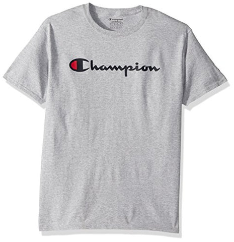 Champion Men's Classic Jersey Script T-Shirt, Light Steel, S to 3XL
