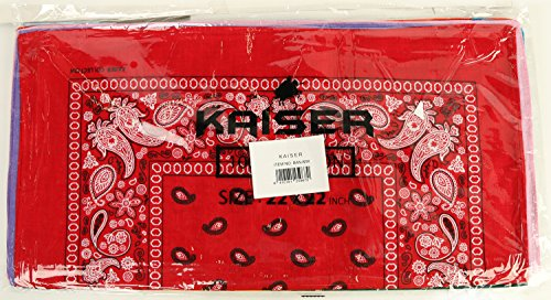 Paisley One Dozen Cowboy Bandanas (12 Colors Assorted, 22 X 22 in)