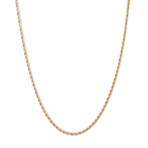Gold Plated  Unisex Rope Chain 4mm - 20 inches, 24 inches, 30 inches