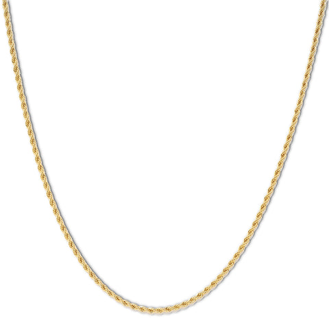 Gold Plated  Unisex Rope Chain 3mm - 20 inches, 24 inches, 30 inches