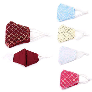 Bling Sequin Embellished Check Pattern Mesh Non-Medical Fashion Mask