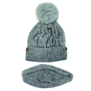 Pompom Knit Soft Warm Fleece Lined Beanie Hat with Knit Face Cover