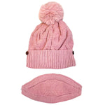 Load image into Gallery viewer, Pompom Knit Soft Warm Fleece Lined Beanie Hat with Knit Face Cover