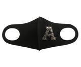 Rhinestone Initial Letters Reusable Fashion Mask-Custom Made-Black