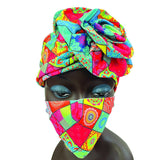 African Print Elastic Turban Beanie with Fashion Mask