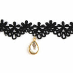 Load image into Gallery viewer, Oval Stone Lace Black Choker Necklace