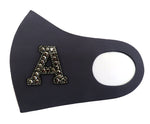 Rhinestone Initial Letters Reusable Fashion Mask-Custom Made-Charcoal