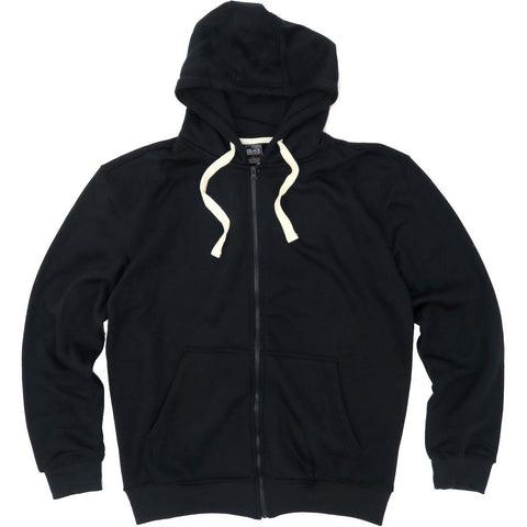 HENRY & WILLIAM Men's Basic Lightweight Full Zip UP Fleece Hoodie Jacket-Black