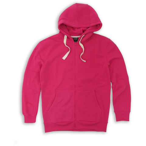 HENRY & WILLIAM Men's Basic Lightweight Full Zip UP Fleece Hoodie Jacket- Pink