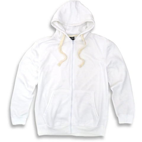 HENRY & WILLIAM Men's Basic Lightweight Full Zip UP Fleece Hoodie Jacket- White
