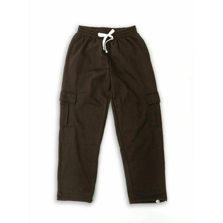 H&W Men's Lightweight Basic Casual Fleece Cargo Pants S-6XL-Brown