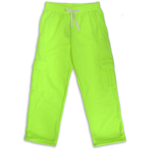 H&W Men's Lightweight Basic Casual Fleece Cargo Pants S-6XL-Lime