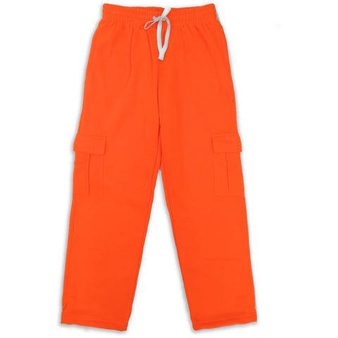 H&W Men's Lightweight Basic Casual Fleece Cargo Pants S-6XL-Orange
