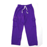Henry & William Men's Basic Heavyweight Fleece Cargo Pants(Kelly Green to Purple)